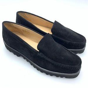 DIANE B. Black Suede Platform Loafers size 8.5